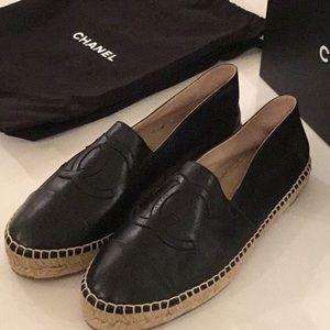Black Leather  Chanel Espadrilles